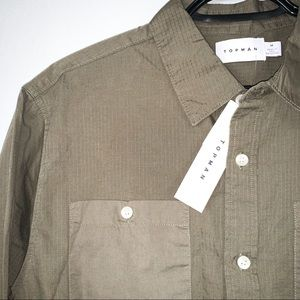Topman • Olive Green Button Down